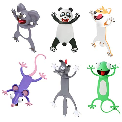 3D Wacky Animal Bookmarks for Kids Novelty Funny Cartoon Bookmarks Student Stationery Supplies Birthday Party Favors Bookmarks for Boys and Girls Help with Reading (6 Pack)
