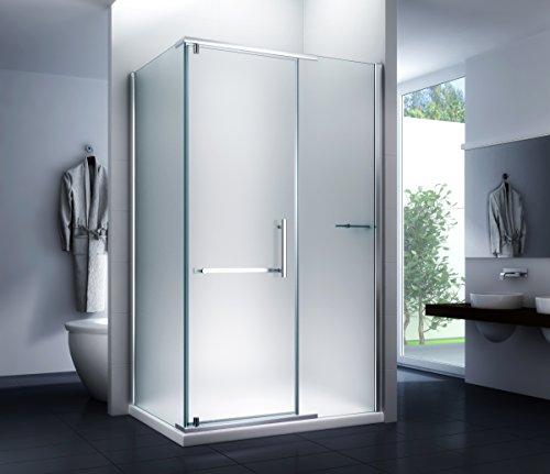 Duschkabine Milchglas Duschabtrennung Dusche Sara (Milk) 100 x 90 x 195cm / 8mm / ohne Duschtasse