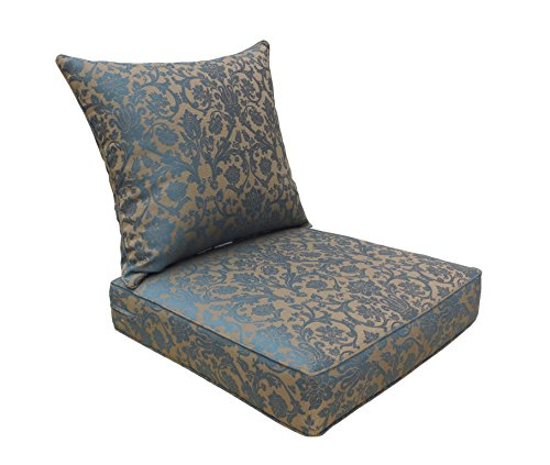 BOSSIMA Indoor/Outdoor Deep Seat Chair Cushion Set, Spring/Summer Seasonal Replacement Cushions (Blue/Brown Damask)
