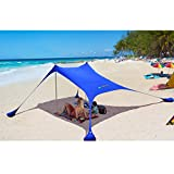 AMMSUN Beach Tent with sandbag Anchors, Portable Canopy Sun Shelter,7 X 7ft -Lightweight, 100% Lycra SunShelter with UV Protection. Sunshade for Family at The Beach, Parks, Camping & Outdoor (Navy)