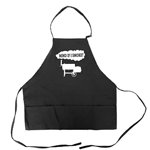 Funny BBQ Grill Apron for Men With Pockets Barbeque Meat Smoking Accessory Father's Day Gift Idea for Dad Mind If I Smoke Offset Smoker