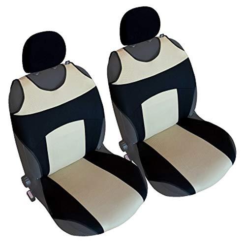Akhan CSC303 - 1 Paar Sitzbezug Sitzauflage Sitzschoner Schwarz / Beige