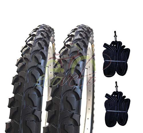 Ecovelò 2 COPERTONI (54-507) 24 x 1.95+CAMERE D'Aria | Pneumatici Neri MTB Bici Bicicletta Mountain Bike