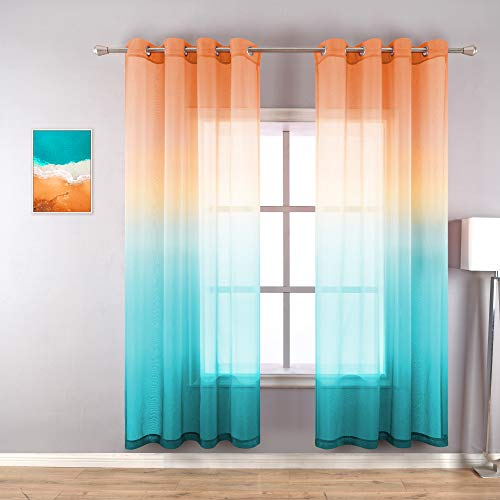 Orange Curtains 72 Inches Long for Bathroom Decor Set 2 Panels Grommet Multicolor Colorful Drapes Window Ombre Sunset Summer Sheer Curtains for Living Room Bedroom Home Decoration Dining 52x72 Length