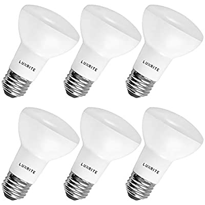 BR20 LED Bulb, Luxrite, 45W Equivalent, 2700K Warm White, Dimmable, 460 Lumens, R20 LED Flood Light Bulb, 6.5W, Energy Star, E26 Medium Base, Damp Rated, Recessed and Track Lighting