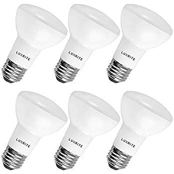 6-Pack BR20 LED Bulb Luxrite 45W Equivalent 3500K Natural White Dimmable 460 Lumens R20 LED Flood Light Bulb 6.5W E26 Medium Base Damp Rated Indoor/Outdoor - Recessed and Track Lighting