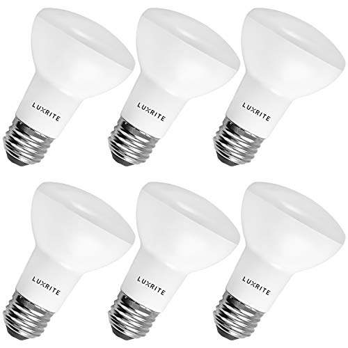 6-Pack BR20 LED Bulb, Luxrite, 45W Equivalent, 3500K Natural White, Dimmable, 460 Lumens, R20 LED Flood Light Bulb, 6.5W, E26 Medium Base, Damp Rated, Indoor/Outdoor - Recessed and Track Lighting