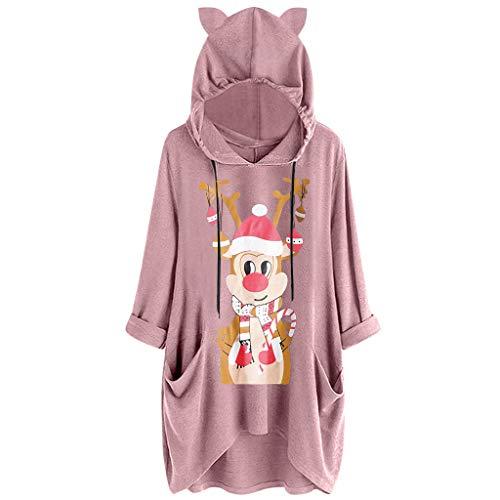 KUDICO - Sudadera con capucha para mujer, diseño de orejas de gato