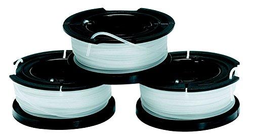 Black+Decker A6485 Fadenspulen (für Trimmer 3er Pack- 3 x 10 m Länge, ⌀ 1,5 mm Fadendurchmesser)