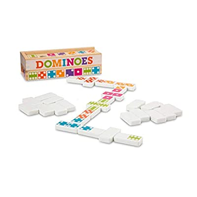 Melissa & Doug Dominoes Tabletop Game (28 Tiles in Wooden Storage Box, Great Gift for Girls and Boys - Best for 4, 5, 6 Year Olds and Up)