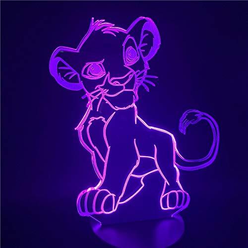 Luz Nocturna 3D,Luz De Noche De Dibujos Animados El Rey León Simba Led Lámpara De Novedad De Color De Luz 3D Lámpara De Mesita De Noche Para El Hogar De Regalo De Navidad, Control Táctil