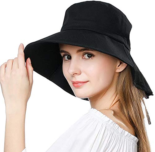 Womens Summer Flap Cover Cap Cotton UPF 50+ Sun Shade Hat with Neck Cord Wide Brim Black (Size:58-59CM)