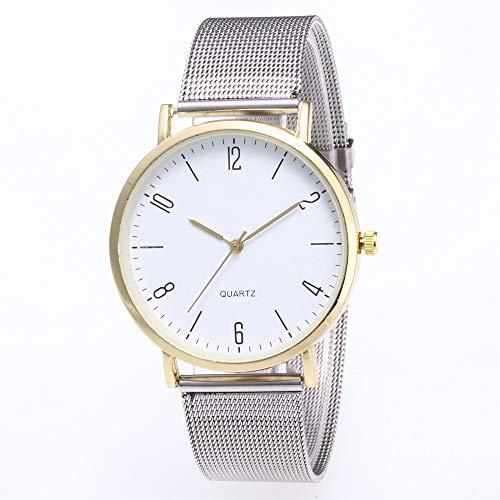 JZDH Frauen-Uhren Art Und Weise Digitale Oberflächen Siebband Student-Uhr-beiläufige Dameuhr Paar Handuhr Dame Armbanduhr (Color : Golden)