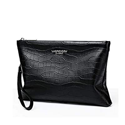 LAORENTOU Genuine Leather Men's Clutch Wrist Bag Handbags Business Organizer Wallets Purse with Removable Shoulder Strap Gift for Father Day(Soft Leather Black)