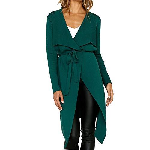 FRAUIT dames leer trenchcoat gebreide jas solide lange mantel effen gebreide mantel uit imitatie wild leer met revers