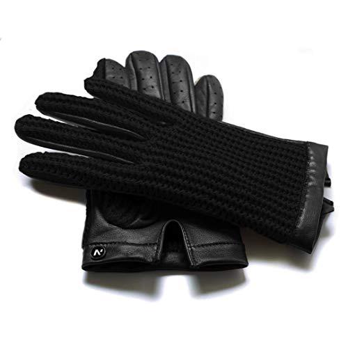 napo gloves napoCROCHET - Touchscreen Lederhandschuhe für Herren, klassische retro Autohandschuhe aus Lammnappa Leder in Braun, Beige, Schwarz und Grün