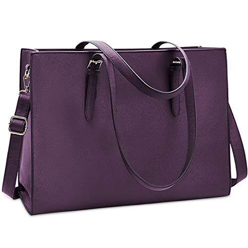 Laptop Bag for Women Waterproof Lightweight Leather 15.6 Inch Computer Tote Bag Business Office Briefcase Large Capacity Handbag Shoulder Bag Professional Office Work Bag Plum