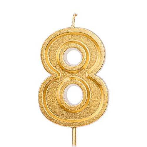 LUTER 2,76 Pulgadas Cumpleaños Grande Velas de Oro Cumpleaños con Purpurina Pastel...