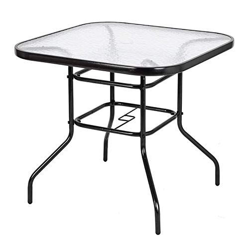 Indoor Outdoor Dining Table Yard Balcony Furniture with Umbrella Hole Garden Pool Side Deck Lawn Patio Bistro Banquet Table Tempered Glass Tabletop (Square)