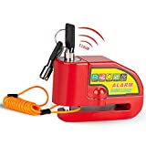 Linkax Bloc Disque Alarme Antivol Moto Bloque Disque Scooter Disc Lock avec Alarme de 110db,2Clés,1.5m Câble Antivol,1 Sac de Bloc Disque Alarme pour Moto/Vélo/Scooter (Rouge)