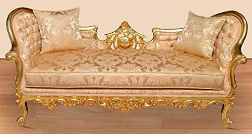 Casa Padrino sofá de salón Barroco Oro/Oro - Sofá de salón Hecho a Mano con patrón Noble - Muebles de salón barrocos