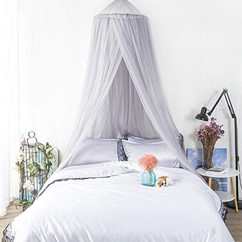 WANG-L Mosquitera De Cúpula Gris Cama Suspendida De Techo Princess Wind Bed Instalación Sin Manto Cifrado Individual Cama Doble Europea
