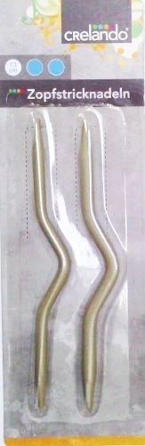 CRELANDO® 2 Zopfstricknadeln Ø 3,0 + 4,0 mm - Länge ca. 13 cm - Stabil, nickel- und rostfrei