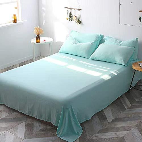 Colcha a Prueba de Polvo y sin Pelusa, sábanas de algodón monocromáticas, combinación de sábana + Funda de Almohada, Ropa de Cama Verde Lago (para Cama de 1 Metro)