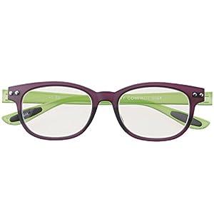 メイガン おしゃれ 老眼鏡 ブルーライトカット パープル*グリーン 度数+2.50 (colorfulook 軽量 形状記憶 フレーム) 5564-25