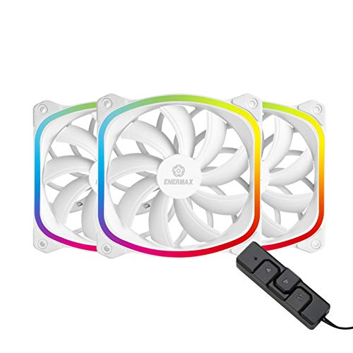 Enermax UCSQARGB12P-W-BP3 Squa RGB PWM 120mm Case Fan, Addressable RGB Sync Via MotherboardControl Box, 3 Fan Pack- White; UCSQARGB12P-WP3, Squa RGB White