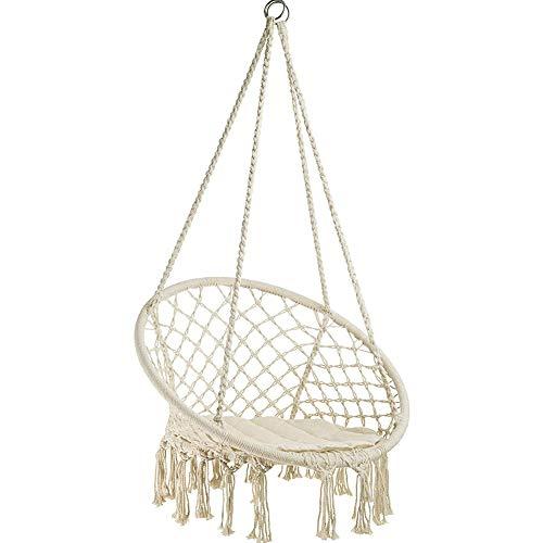 WODENY Hamaca columpio de cuerda de algodón para colgar sillas de macramé para exteriores e interi