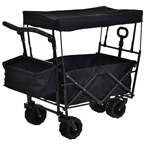DURHAND Folding Trolley Cart Storage Wagon Beach Trailer 4 Wheels with Handle Overhead Canopy Cart Push Pull For Shopping Camping Garden- Black