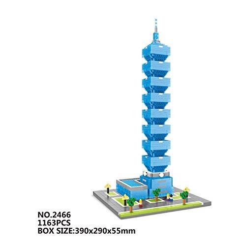 Zenghh Arquitectónicas del edificio Taipei 101 Modelo, Landmark famoso Crafts grande del ornamento 3D, Taipei Financial Center bloques, Diamante miniatura Puzzle Azulejos Juguetes, 338mm Alto, en caja