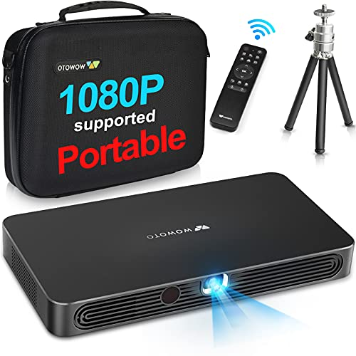 Mini Projector WOWOTO A8 Pro 200 ANSI Lumen Android Support Full HD 1080P Smart Wi-Fi Projector 4200mAh Battery 150' Image DLP Video Projector with BT4.0/HDMI/USB/Outdoor Projector for Home Theater