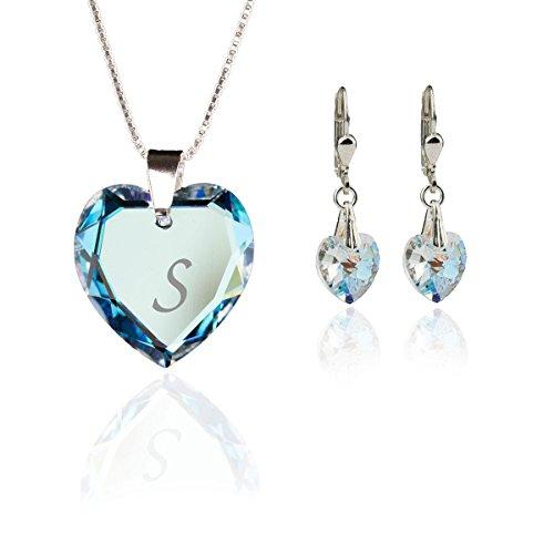 Kristallwerk Kinder Schmuckset, Kette und Ohrringe 925 Silber mit Swarovski Elements Herzanhänger Farbe Blue AB und Gravur Buchstabe S