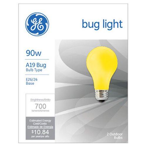 G E LIGHTING 61435 GE Bug Light Bulb, 90W, Yellow, 2-Pack