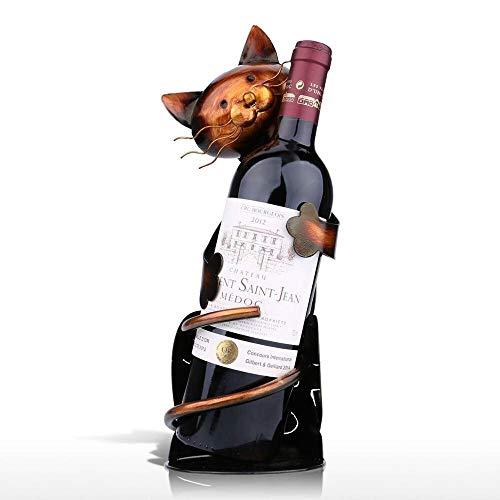DOMINIC Creative Cat Wine Rack Vino Titular Estante Alloy Práctico Escultura Vino Soporte Menaje Decoración Interior Crafts Estantería de Vino (Color : Khaki)