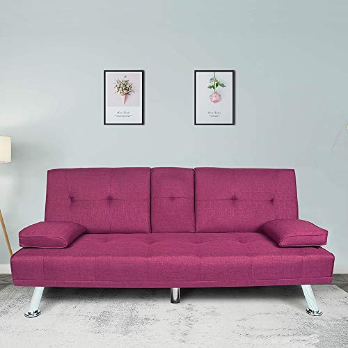 Convertible Futon Sofa Bed, Modern Sleeper Sofa with Removable Armrest and 2 Cup Holders, Fold Up & Down Recliner Couch with 5 Metal Legs, Twin Size Sofa for Living Room Handpicked Fabric (Purple)