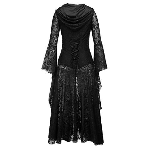 LOPILY Kostüme Damen Mittelalter Spitze Kleider Damen Halloween Kostüm Damen Gothic Langer Umhang Vintage Cosplay Kleider Kanerval Lolita Damen Retro Fashingskostümee (Schwarz, 32)