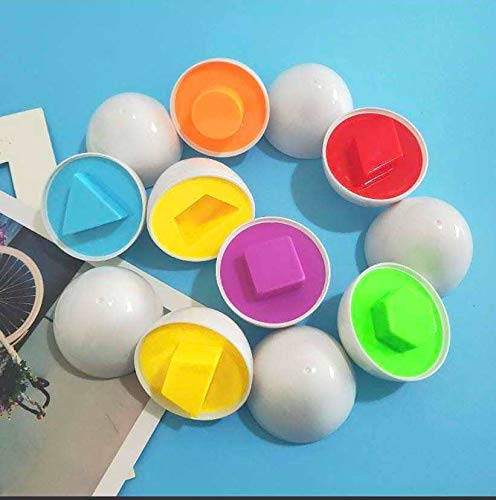 Litvibes Creative Egg Fun Color & Shape Matching Toys for Kids and Toddlers- 6 Eggs (White)