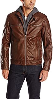 GUESS Men's Faux Leather Hooded Moto Jacket