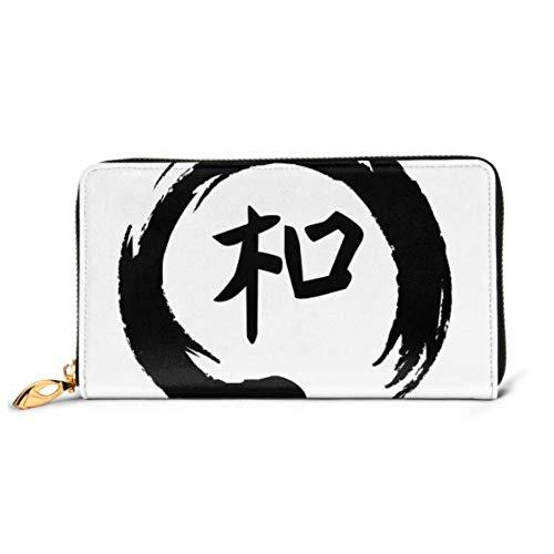 JHGFG Mode Handtasche Reißverschluss Brieftasche Feng Shui Zeichen Harmonie in Zen Telefon Kupplung Geldbörse Abendkupplung Blockieren Leder Brieftasche Multi Card Organizer