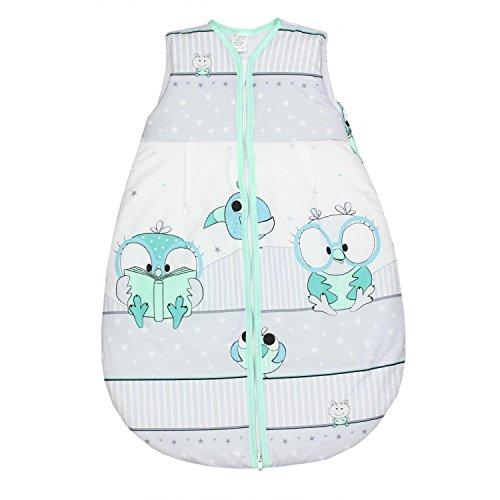 TupTam Baby Unisex Schlafsack Ärmellos Wattiert, Farbe: Vögelchen Grün, Größe: 62-74