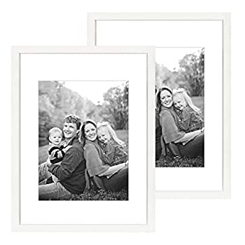 DBWIN 18x24 Picture Frame White Wood Pattern Poster Frame with Mat for 12x16 Photos Plexiglass Front 2 Pack for Art Prints Wall Decor Vertically or Horizontally LY01-18X24-WT