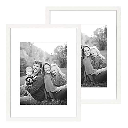 DBWIN 18x24 Picture Frame White Wood Pattern Poster Frame with Mat for 12x16 Photos Plexiglass Front 2 Pack for Art Prints Wall Decor Vertically or Horizontally(LY01-18X24-WT)