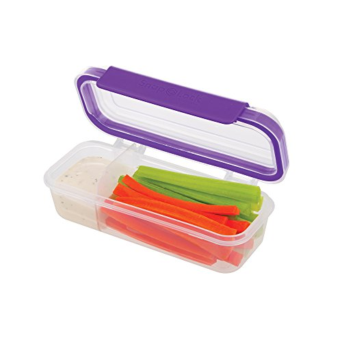SnapLock by Progressive Snack Box Container - Purple, Easy-To-Open, Leak-Proof Silicone Seal, Snap-Off Lid, Stackable, BPA FREE