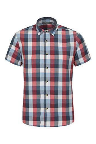 Mountain Warehouse Weekender Kurzarmhemd für Herren - Sommerhemd aus 100{209267c73a7ea86b700202a8027768baa3c745a3ef9f0e5b237da59ee3c80cde} Baumwolle, Freizeithemd, atmungsaktiv Kariertes Hemd, bequemes Oberteil Kurzarm-Shirt Rot XXL