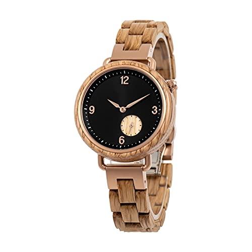 yuyan Reloj de Madera de Las señoras, Reloj de Movimiento de Cuarzo analógico japonés Elegante y Simple, sándalo Natural Puro con Correa de Madera Ajustable, Mujeres