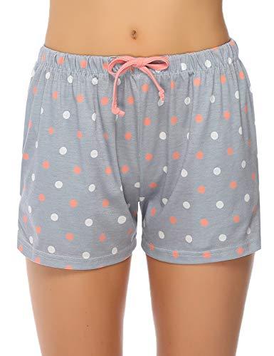 Hawiton Damen Schlafanzughose Karierte Pyjama Hose Nachtwäsche aus Baumwolle, Rot-dots, Gr.- L