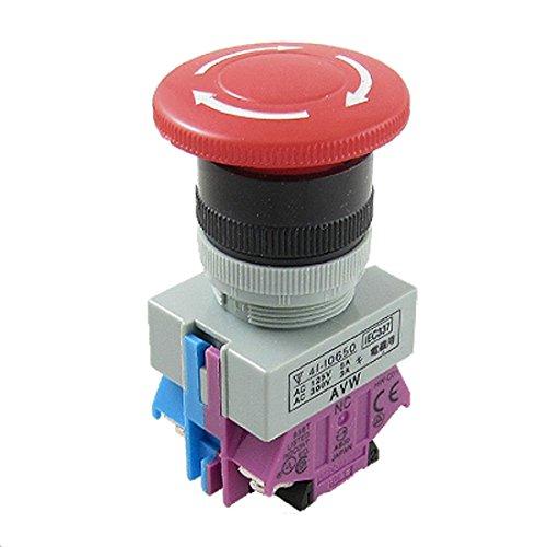 SODIAL(R)AC 600V 10A Rojo Interruptor de boton pulsador de parada de emergencia de seta 22mm NO NC
